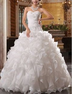 Custom Ball Gown Applique Ruffles Organza Wedding Dress Bridal Gown White/Ivory