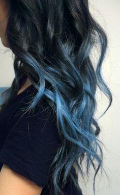 Long hair. Brunette. Black hair. Ombre. Blue hair. Wavy hair. Curled hair. #pinspiration