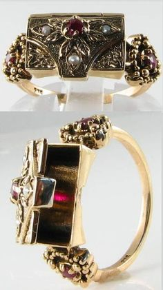 Victorian-inspired seed pearl and ruby poison ring, listed on ebay by mondiall_123. Via Diamonds in the Library.