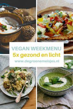 Vegan weekmenu: gezonde en lichte gerechten   couscous met muntpesto   falafel uit de oven   groene soep   pasta met courgette en walnootpesto en meer. Lees de recepten op de blog van De Groene Meisjes