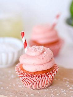 Strawberry Margarita Cupcakes recipe. These cupcakes are strawberry with a hint of zippy lime, and the frosting is probably the best ever.