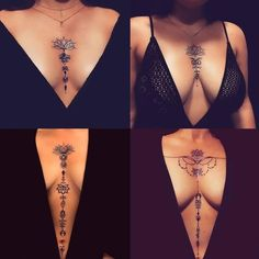 tattoos and piercings Sternum ideas Bottom right would want the top part of the design placed unde # Womens bottoms Bottom design ideas part piercings Sternum tattoo Tattoos top unde womens bottom sleeve tattoo Mädchen Tattoo, Paar Tattoo, Henna Tattoos, Henna Tattoo Designs, Tattoo Designs For Women, Body Art Tattoos, Sternum Tattoo Design, Tatoos, Tattoo Ideas