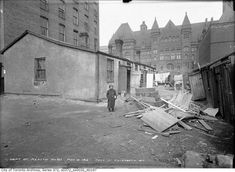 """A department of health photo of a slum dwelling in the Ward, near city hall, in 1913 shows the living conditions many poor Torontonians endured. The piles of garbage and the insects they attracted inspired the Star's """"Swat the Fly"""" competition. Toronto Ontario Canada, Toronto City, John Ward, Art Gallery Of Ontario, Guernica, Canadian History, Slums, Old City, Abandoned"""