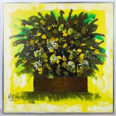 """Lot 283: Lee Reynolds (American, 20th Century) Oil on Canvas; c.1969, signed lower left, depicting a basket of flowers; having a """"Vanguard Studios 1969"""" stamped mark on the back of the stretcher"""