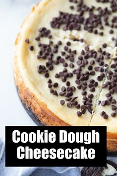 Chocolate Chip Cookie Dough Cheesecake recipe from RecipeGirl.com #chocolate #chip #chocolatechip #cookie #dough #cookiedough #cheesecake #recipe #RecipeBoy Cookie Dough Desserts, Cookie Dough Cheesecake, Cheesecake Recipes, Make Chocolate Chip Cookies, Chocolate Chip Recipes, How To Make Chocolate, No Egg Cookies, Oreo Cookies, Most Pinned Recipes