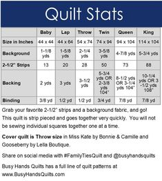Throw Quilt Size, Lap Quilt Size, Tie Quilt, Queen Size Quilt, Lap Quilts, Strip Quilts, Quilt Sizes, Size Of Baby Quilt, Quilt Top