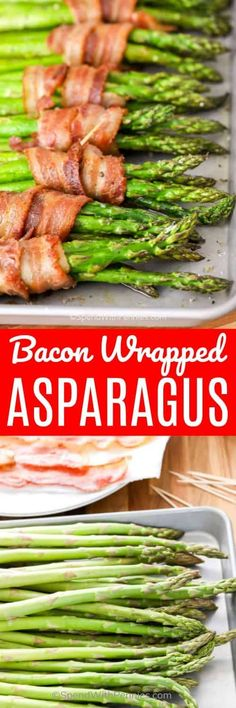 Bacon wrapped asparagus is one of my favorite side dishes! It is the best combo … Bacon wrapped asparagus is one of my favorite side dishes! It is the best combo ever, and so easy to make! Bacon Recipes, Top Recipes, Side Dish Recipes, Lunch Recipes, Vegetable Recipes, Cooking Recipes, Healthy Recipes, Game Recipes, Healthy Foods