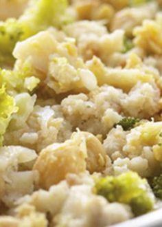Migas de broa com bacalhau e brócolos