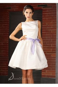 Classic Elegant Satin A-line Bateua Neckline Short Wedding Dress Online