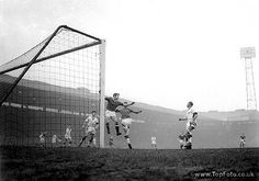 23 February 1958Manchester United v Nottingham Forest Nottingham Forest goalkeeper Thomson (right) in a challenge with Manchester United's Pearson during the match at Old Trafford. This was United's first league game since the Munich aircrash.23rd February 1958.