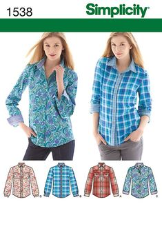 Purchase Simplicity 1538 Misses' Button Front Shirt sizes 6 - 22 and read its pattern reviews. Find other Tops, sewing patterns.