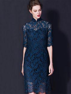 With You Allover Green Lace Midi Cheongsam / Qipao Dress