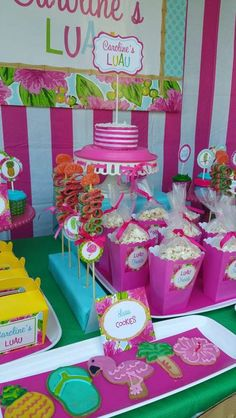 Cookies and popcorn at a Hawaiian luau birthday party! See more party  planning ideas at 6648eeb0b198