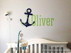 Name Wall Decal Whale Wall Decal Nautical Baby Room Decor - Monogram wall decal for nursery
