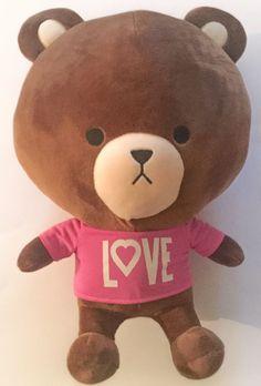 Tom Bear Rare Plush Brown Teddy Stuffed Animal Pink Love Shirt Big Head #HongChen #AllOccasion