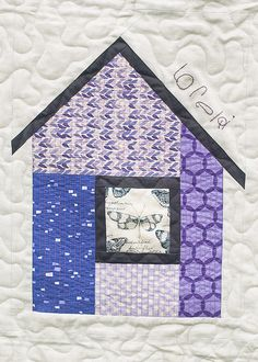 "Modern House block by Amanda, OKC Modern Quilters.  ""Neighborhood"" pattern from Modern Patchwork by Elizabeth Hartman."