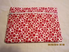 "8"" Cosmetic Bag / Make Up Bag / Pencil Pouch - Red Retro Dots by ShawnasSpecialties on Etsy"