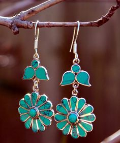 Turquoise Inlay dangle sterling silver earring