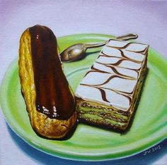 Eclair au chocolat & Napoleon Original oil still life painting 6x6 inches by JP Walter, painting by artist JP Walter