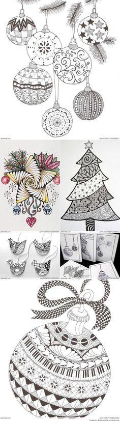 Christmas Zentangle Patterns. CAn Be Embroidered!