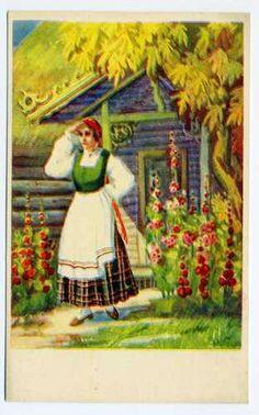 Latvian National Costumes Latvia Smiltene ca1930 Riga Old Postcard