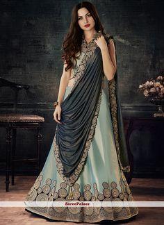 The Stylish And Elegant Lehenga Choli In Green,Blue Colour Looks Stunning And Gorgeous With Trendy And Fashionable Embroidery . The Taffeta,Silk Fabric Wedding Wear Lehenga Choli Looks Extremely Attra. New Lehenga Choli, Lehenga Choli Online, Bridal Lehenga, Wedding Lehnga, Blue Lehenga, Lehenga Blouse, Sarees, Churidar, Salwar Kameez