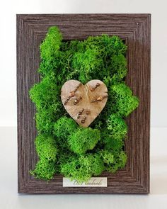 home decor in a brown photo frame with green lichens & wood heart with cristals&beas Bedrooms, Photo And Video, Heart, Brown, Wood, Frame, Handmade, Instagram, Home Decor