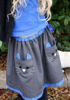 Una idea muy original con bolsos gato sobre la falda. Idea for pockets on skirt.