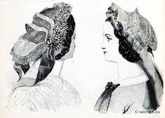 """1860, La Mode Illustree. """"Bonnet Négligé. Bonnet Négligé en Mousseline."""""""