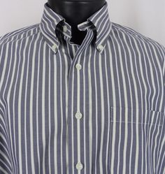 Brooks Brothers Mens L Shirt Non-Iron All Supima Striped SS Blue White Button Up #BrooksBrothers #ButtonFront