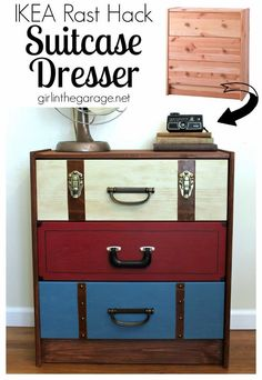 Best DIY Projects: IKEA RAST Hack: A suitcase dresser makeover from an IKEA chest of drawers.