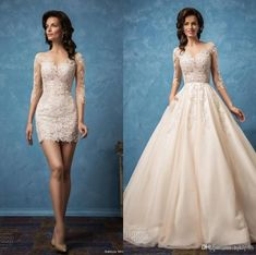 Vintage Amelia Sposa 2017 Sexy Wedding Dresses Long Sleeve Detachable Lace Applique Bridal Gowns Backless Sheer Lace A-line Wedding Dress Lace Luxury Illusion Online with $182.86/Piece on Hjklp88's Store
