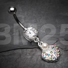 Pearlescent Rainbow Sparkle Ariel's Shell Belly Button Ring by BM25Jewelry on Etsy https://www.etsy.com/listing/463180801/pearlescent-rainbow-sparkle-ariels-shell