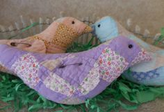 Primitive Easter Chick Tucks Vintage Handsewn Quilt Spring Peeps Home Decor by auntiemeowsprims on Etsy