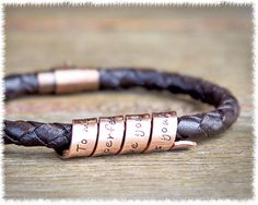 Men's Copper Spiral Bracelet  Leather Bracelet  by SuedeSentiment