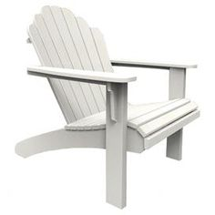 """Eco-friendly indoor/outdoor Adirondack chair in white. Made in the USA.   Product: Adirondack chairConstruction Material:  Recycled high density polyethylene and stainless steelColor: WhiteFeatures:  Color stable UV inhibitorVirtually maintenance freeMade in the USA Dimensions: 37"""" H x 32"""" W x 39"""" DCleaning and Care: This product is UV protected and requires very little maintenance. To clean, use soap and warm water regularly."""