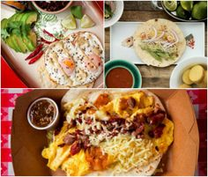 Rise and shine for tacos! (Clockwise from top left): fried egg taco, Paul Qui's breakfast taco, The Wrangler