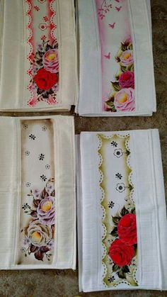 toalhas de rosas ana laura rodrigues - Pesquisa Google Laura Rodrigues, One Stroke Painting, Rose Art, Paint Designs, Fabric Painting, Decoupage, Stencils, Diy And Crafts, Cross Stitch
