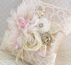 Ring Bearer Pillow Bridal Pillow in Champagne, Light Pink and Ivory with Lace, Handmade Flowers and Jewels Vintage Inspired