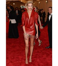Anja Rubik  Anthony Vaccarello red leather dress with grommets details from the F/W 13 collection;