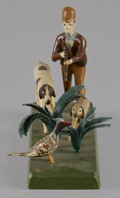 Sold $2,400 George D. Wolfskill (Lancaster County, Pennsylvania 1872-1940), carved and painted hunting scene, 5 1/2'' h., 9'' w. Illustrated in Machmer, Just for Nice fig. 144. Provenance: Richard Machmer.