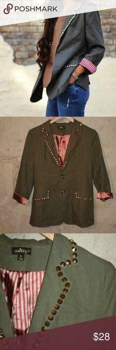 Studded blazer There is a small rip in JUST the lining...pic four. It's only the lining...there are no visible defects when worn. Moss green blazer with gold toned spike studs  Stripey lining adds a fun pop at the sleeves. A little oversized. Audrey 3+1 Jackets & Coats Blazers