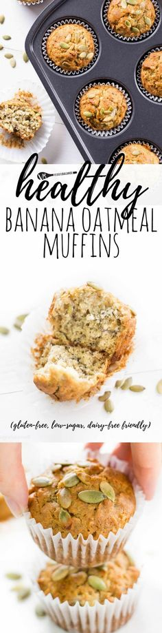Healthy Banana Oatmeal Muffins are the perfect start to every day. Mix, bake and serve up flavorful amazingness! (Gluten-Free, Healthy, Low-Sugar, Dairy-Free friendly) via @veggiebalance