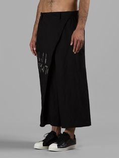 YOHJI YAMAMOTO MEN'S BLACK DRAPE PANTS