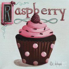 Raspberry Chocolate Cupcake Painting  - Raspberry Chocolate Cupcake Fine Art Print