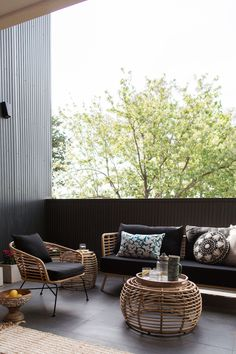 Gina's home: Outdoor living room reveal. It only took 3 years but I finally finished our front terrace! Outdoor Living Rooms, Outdoor Spaces, Outdoor Cafe, Gin, Classy Living Room, Deco Design, Chair Design, Living Room Designs, Outdoor Furniture Sets