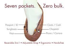 Seven pockets. Zero Bulk.   www.thesashbag.com #handsfree #travelbag #fashion…