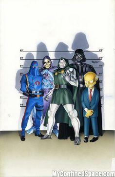 Cobra Commander, Skeletor, Dr Doom, Darth Vader and Mr. Burns