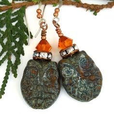 The stylish Hoot Hoot handmade earrings were created with marigold orange Czech glass owl with a heavy green lichen Picasso finish, copper rondelles set with Czech crystals and hyacinth orange Swarovski crystals - gift idea for women.