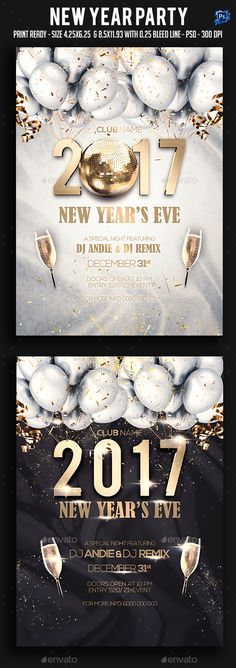 #New #Year Party #Flyer  - Clubs & Parties #Events Download here: https://graphicriver.net/item/new-year-party-flyer-/17805576?ref=alena994